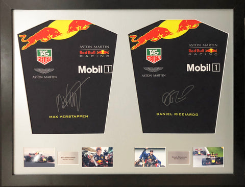 Max Verstappen and Daniel Ricciardo Formula 1 Signed Shirt Display 2018 with COA