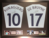 Aguero and De Bruyne Manchester City Signed Shirt Display with COA - Kicking The Balls