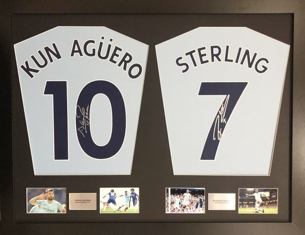 Aguero and Sterling Manchester City Signed Shirt Display with COA - Kicking The Balls