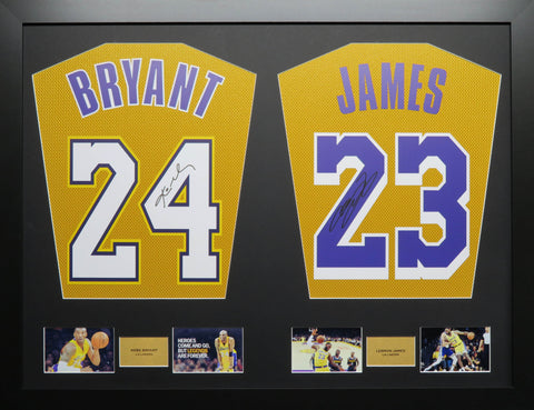 Bryant and James LA Lakers signed Jersey Display with COA
