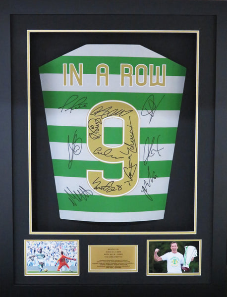 Celtic 9 In A Row Team signed shirt 3d display with COA