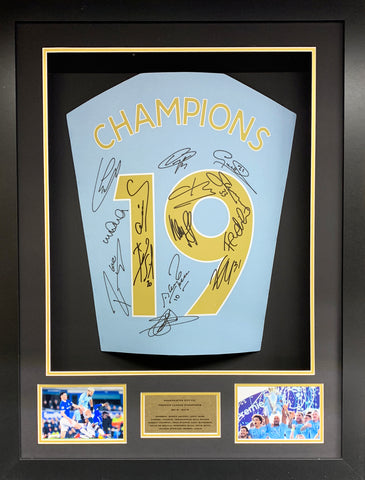 Champions 19 Manchester City Team Signed 3D Display with COA