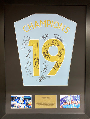 Champions 19 Manchester City Team Signed Shirt Display with COA
