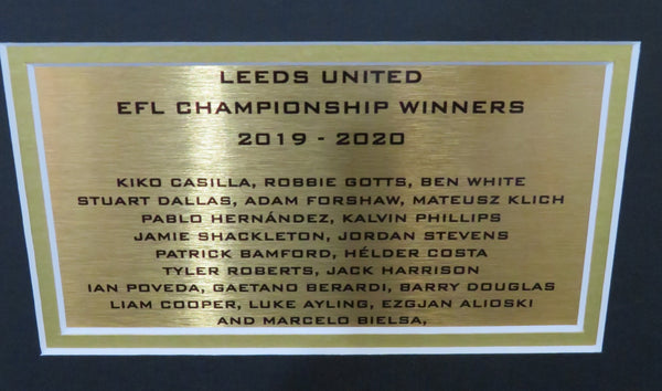 Leeds United Championship Winners 2020 Team signed shirt 3d display with COA