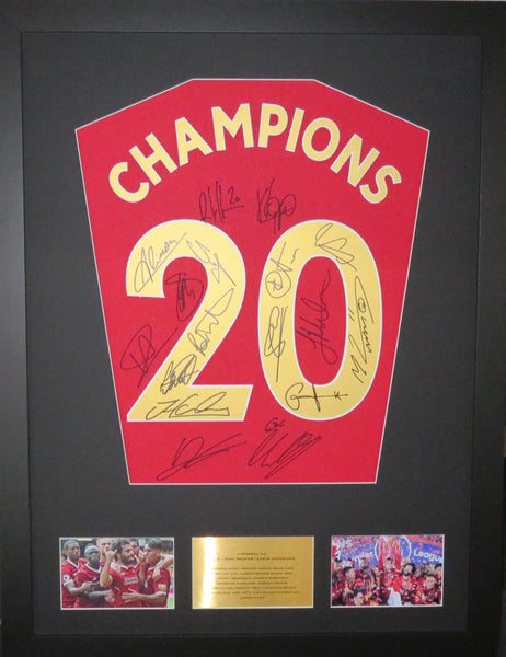 Liverpool Team Signed Premier League Champions Display with COA
