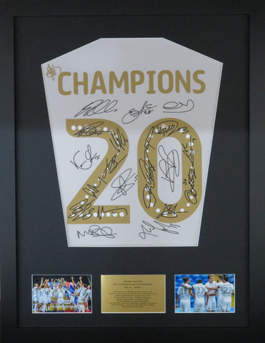 Leeds United Championship Winners 2020 Team signed shirt display with COA