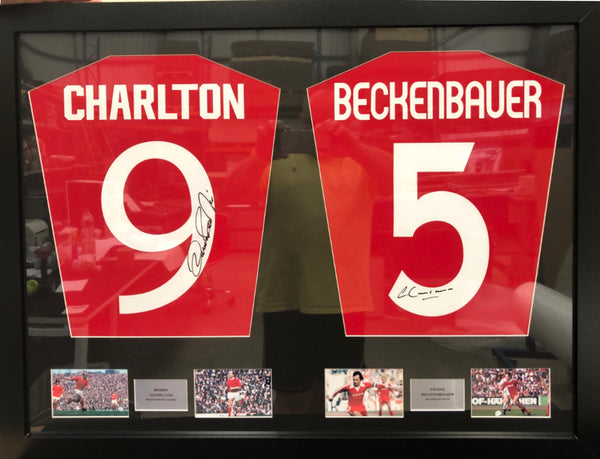 Bobby Charlton and Franz Beckenbauer Signed Shirt Display with COA - Kicking The Balls