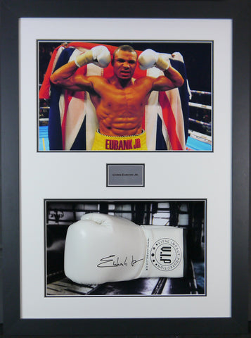 Chris Eubank Jr Signed Boxing Glove 3D Display with Panoramic Boxing Backdrop-Frame It Display It Framing Kit Display Manufacturers