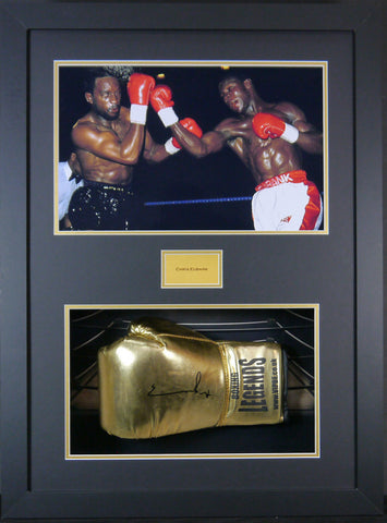 Chris Eubank Signed Boxing Glove 3D Display with Panoramic Boxing Backdrop-Frame It Display It Framing Kit Display Manufacturers
