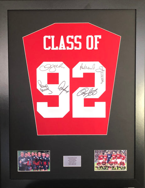 Class of 92 signed Manchester United Shirt Display with COA LTD Edition
