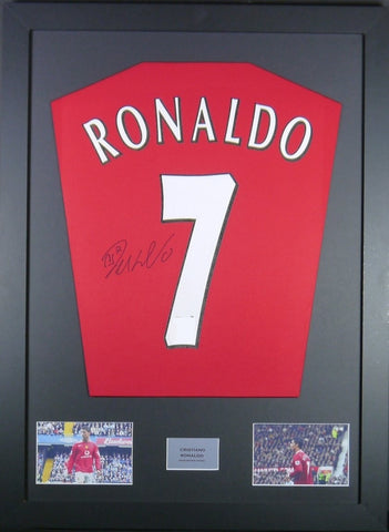 Cristiano Ronaldo Manchester United Signed Shirt Display With COA - Kicking The Balls