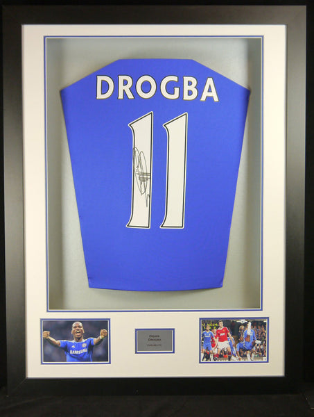 Didier Drogba Chelsea Signed Shirt 3D Display with COA