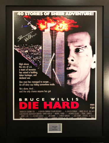 Die Hard Bruce Willis Signed Movie Poster with COA - Kicking The Balls