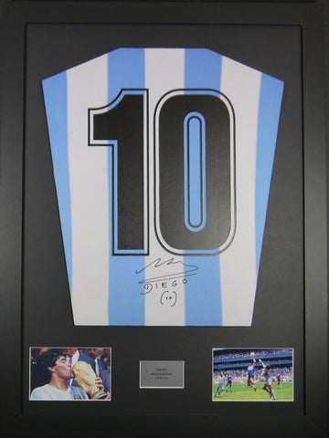Diego Maradona Argentina Signed Shirt Display With COA - Kicking The Balls