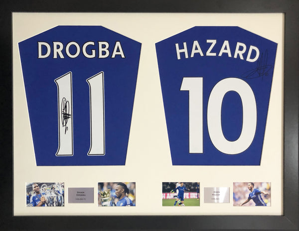 Drogba and Hazard Chelsea Signed Shirt Display with COA
