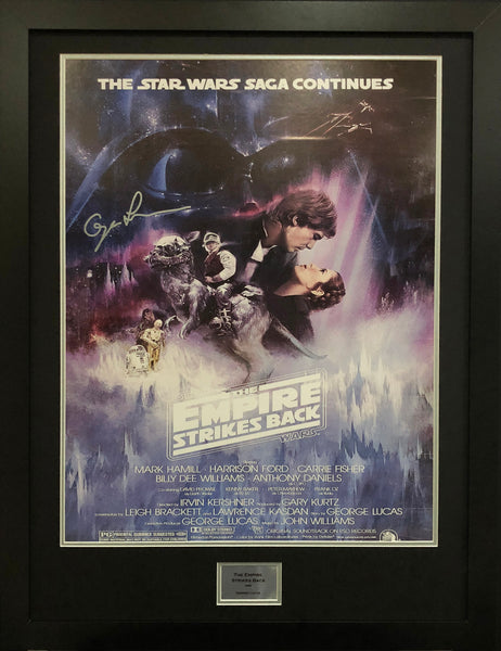 Empire Strikes Back USA Version George Lucas Signed Movie Poster with COA - Kicking The Balls