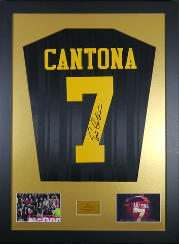 Eric Cantona Signed Manchester United Kung Fu Kick Shirt Display With COA - Kicking The Balls