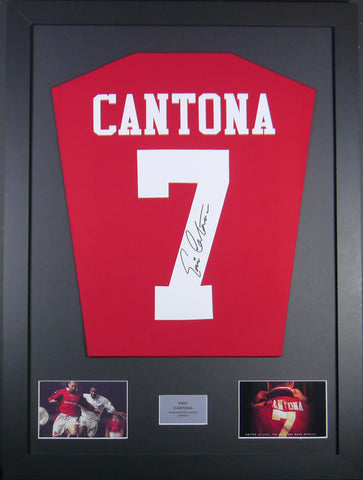 Eric Cantona Signed Manchester United Shirt Display With COA - Kicking The Balls
