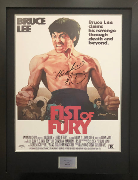 Bruce Lee Fist of Fury Signed Movie Poster with COA - Kicking The Balls