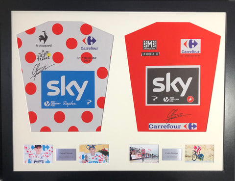 Chris Froome King of the mountains and La Vuelta 2017 double Signed Shirt Display with COA - Kicking The Balls