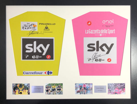 Chris Froome Tour de France and Giro D'Italia 2018 double Signed Shirt Display with COA - Kicking The Balls