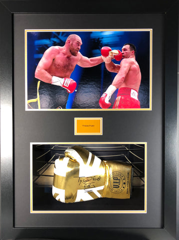 Tyson Fury Signed Boxing Glove Limited Edition 3D Display with COA - Kicking The Balls