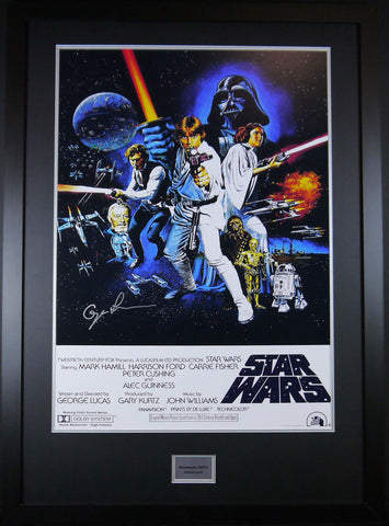 Star Wars Framed and signed Movie Poster George Lucas With COA - Kicking The Balls
