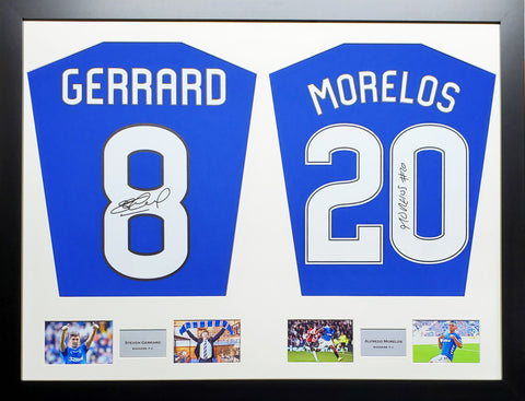 Gerrard and Morelos Rangers Signed Shirt Display with COA