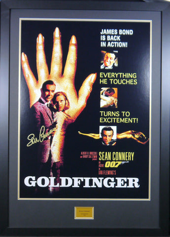 Goldfinger Signed and Framed Movie Poster Sean Connery with COA - Kicking The Balls