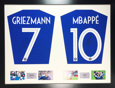 Griezmann and Mbappe France world cup 2018 Signed Shirt Display 7cf4476ca