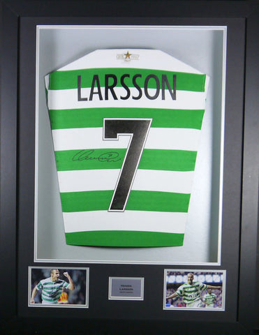 Henrik Larsson Celtic Signed Shirt 3D Display with COA - Kicking The Balls