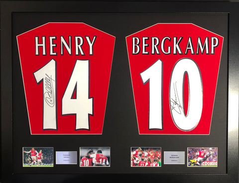 Thierry Henry and Dennis Bergkamp Arsenal Signed Shirt Display with COA