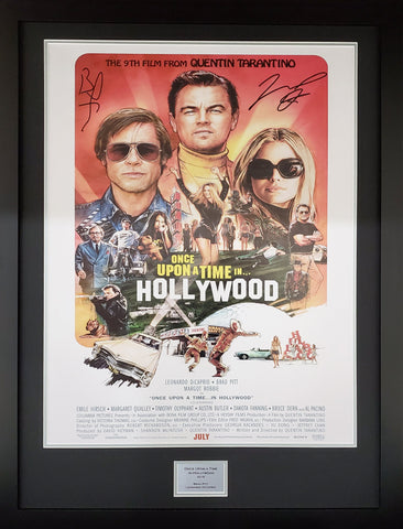 Once Upon a Time in Hollywood Brad Pitt and Leo DiCaprio Signed Movie Poster with COA - Kicking The Balls
