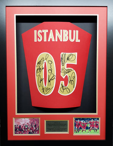 Liverpool Istanbul 2005 Team Signed Shirt Champions League 3D Display with COA - Kicking The Balls