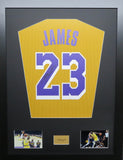 Lebron James La Lakers Signed Jersey Display with COA
