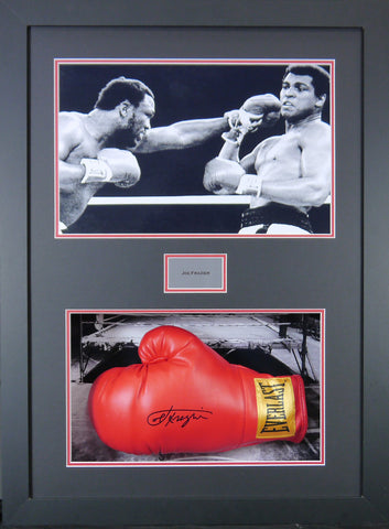 Joe Frazier Signed Boxing Glove 3D Display with Panoramic Boxing Backdrop-Frame It Display It Framing Kit Display Manufacturers