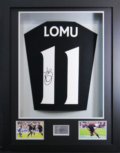 Jonah Lomu Signed New Zealand Shirt 3D Display with COA - Kicking The Balls