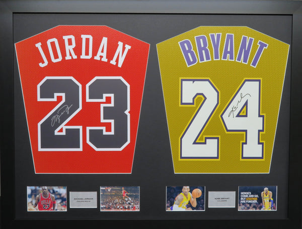 Jordan and Bryant Chicago Bulls and LA Lakers signed Jersey Display with COA