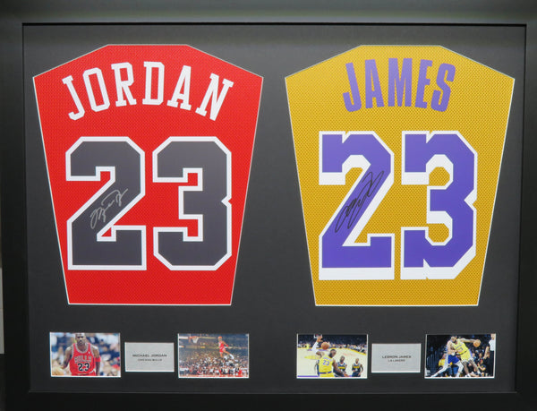 Jordan and James Chicago Bulls and LA Lakers signed Jersey Display with COA