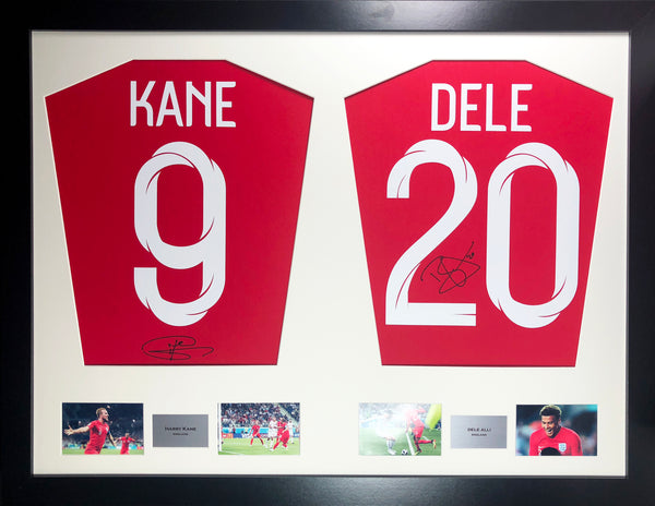 Kane and Alli England World Cup 2018 Signed Shirt Display with COA - Kicking The Balls