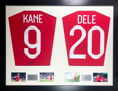 Kane and Alli England World Cup 2018 Signed Shirt Display with COA