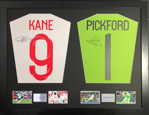 Harry Kane and Jordan Pickford Signed England Shirt Display with COA - Kicking The Balls