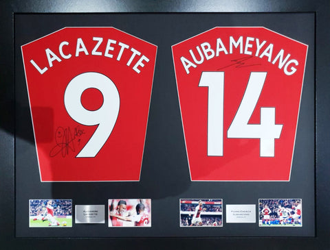Lacazette and Aubameyang Arsenal Signed Shirt Display with COA - Kicking The Balls