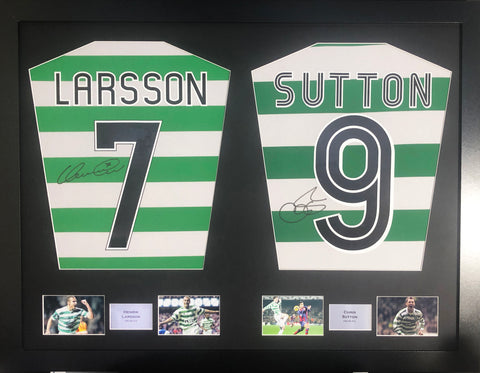 Henrik Larsson and Chris Sutton Celtic Signed Shirt Display with COA