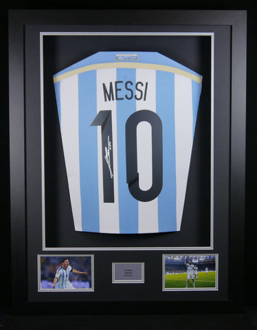 Lionel Messi Argentina Signed Shirt 3D Display with COA - Kicking The Balls