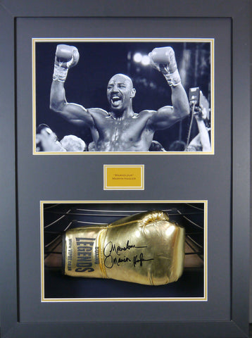Marvelous Marvin Hagler Signed Boxing Glove 3D Display with Panoramic Boxing Backdrop-Frame It Display It Framing Kit Display Manufacturers