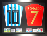 Messi and Ronaldo Argentina and Portugal Signed Shirt Display with COA - Kicking The Balls