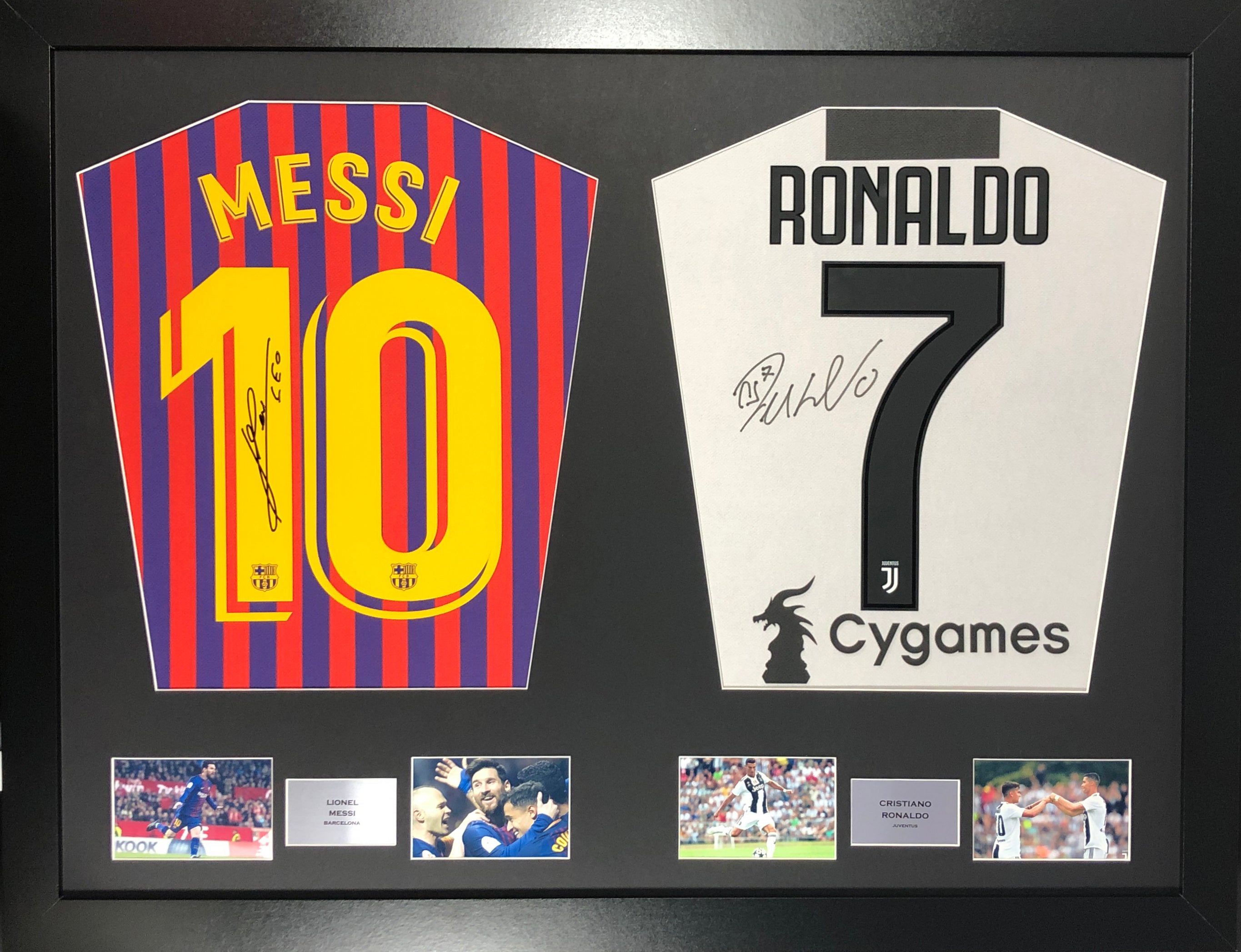 new arrival 8645e 38b47 Lionel Messi Barcelona and Cristiano Ronaldo Juventus dual Signed Shirt  Display with COA