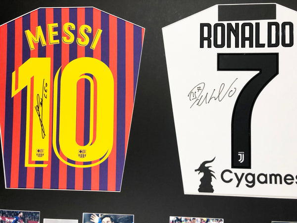 Lionel Messi Barcelona and Cristiano Ronaldo Juventus dual Signed Shirt Display with COA - Kicking The Balls
