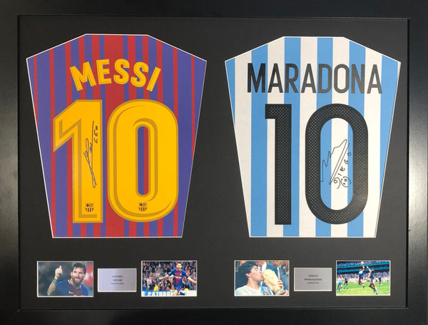 Messi Barcelona and Maradona Argentina Signed Shirt Display with COA - Kicking The Balls